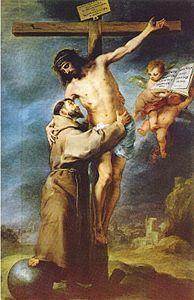 San Francesco abbraccia Cristo crocifisso - dipinto di Bartolomé Esteban Murillo